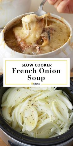 How To Make the BEST EASY HEALTHY homemade French Onion Soup in the Slow Cooker from scratch. This recipe is a cold weather food game changer. Such a smart cooking tip - from start to finish, make caramelized onions in your crockpot and finish them as a delicious soup. If you're looking for quick and simple crock pot recipes and ideas for soups, try this.