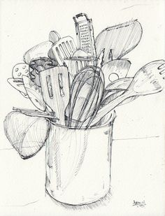 Scetchbook Ideas Kitchen Utensils Drawing Illustration Silk Sheets - Should We Food Drawing, Painting & Drawing, Drawing Sketches, Art Drawings, Drawing Ideas, Sketching, Kitchen Drawing, Observational Drawing, Object Drawing