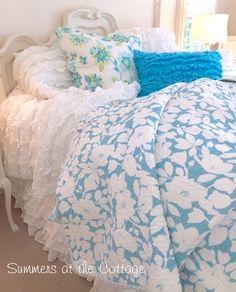 RUFFLED BEACH COTTAGE TURQUOISE BLUE PILLOW SHAM AQUA BLOOMING FLOWERS EURO SHAM