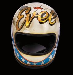 The Wembley Bell Star helmet, hand painted by George Sedlak, given to television presenter Frank Gifford when he visited Knievel in hospital Classic Motorcycle Helmet, Motorcycle Style, Bike Style, Motorcycle Helmets, Vintage Helmet, Vintage Racing, Evel Knievel Helmet, Cafe Racer Moto, Custom Helmets