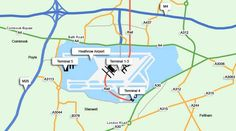 Detailed maps and directions to Heathrow Airport. Shows how to get to Heathrow by car, including postcodes and even distances to nearby cities. Driving Route Planner, Heathrow Airport, Road Trip, London, Marketing, Website, Travel, Maps, England