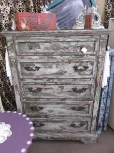 SOLD - Distressed chest with 5 deep drawers - layered paint for chippy shabby look then finished in a dark wax. New drawer pulls! ***** In Booth D8 at Main Street Antique Mall 7260 E Main St (east of Power RD on MAIN STREET) Mesa Az 85207 **** Open 7 days a week 10:00AM-5:30PM **** Call for more information 480 924 1122 **** We Accept cash, debit, VISA, Mastercard, Discover or American Express