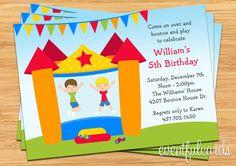Bounce House Birthday Party Invitation for Boys