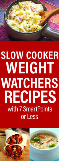 Slow Cooker Weight Watchers Recipes with 7 SmartPoints or Less slow cooker recipes healthy Crock Pot Recipes, Ww Recipes, Skinny Recipes, Slow Cooker Recipes, Cooking Recipes, Healthy Recipes, Recipies, Healthy Snacks, Recipes Dinner