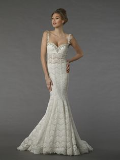 Perla D by Pnina Tornai Style 14180  This a-line gown features a sweetheart neckline with a natural waist in lace. It has a chapel train and spaghetti straps. This gown is Exclusive to Kleinfeld Bridal.