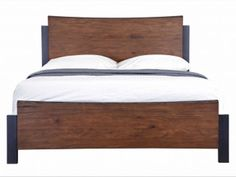 Four solid blackened metal feet and a curved headboard and footboard made of American Popular all conclude in crisp corners for a finished look. Bedroom Furniture Beds, Solid Wood Bedroom Furniture, Bed, Japanese Bedroom, Curved Headboard, Headboard And Footboard, Bed Frame, Bedroom, Bedroom Styles