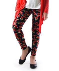 Love this Red & Black Floral Leggings - Girls on #zulily! #zulilyfinds