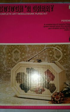Stitch n Carry complete needlework purse kit Perennials unopened needlepoint NOS #AmericanArtsandCrafts