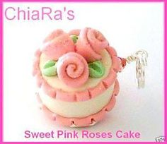 Pink Glitter Rose Polymer Clay Cake  Charm by CharmthisClayCharms, $4.00