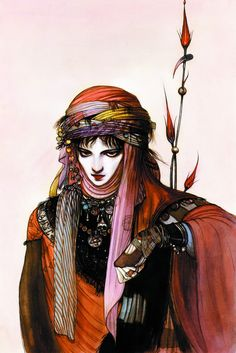 Ilian of Garathorm by Yoshitaka Amano. The only female avatar of Michael Moorcock's Eternal Champion. (Cover art for the Millennium edition of _Count Brass_.)