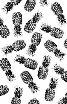 Black and White Pineapple Art Print