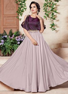 Buy Cream N Purple Satin Silk Taffeta Anarkali Gown online, SKU Code: BGWSMSSA829. This Purple  color Party dresses and gown for Women comes with Sequins  Taffeta . Shop Now!