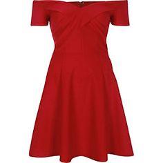 Red scuba bardot skater dress