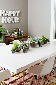 LOVE everything about this - bar cart, happy hour sign, table runner