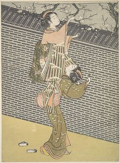 Plucking a Branch from a Neighbor's Plum Tree  Suzuki Harunobu  (Japanese, 1725–1770)  Period: Edo period (1615–1868) Date: ca. 1768 Culture: Japan Medium: Polychrome woodblock print; ink and color on paper
