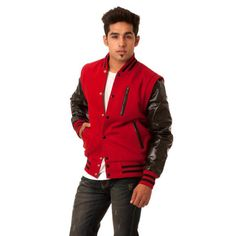 Red Varsity Baseball Letterman Jackets, Black Parchment Sports Varsity Jacket, embroidery patch, Free shipping Letterman, HIgh School Jackets, letterman jackets, Wool Body and Leather Sleeves Jackets.