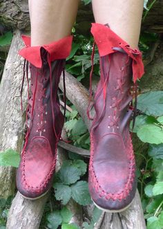 Red and Black Leather Ankle Boots