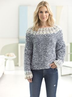 Knit this cozy pullover with new Color Clouds! Free knit pattern calls for 10 - 13 balls of yarn (pictured in smoky grey and ice storm) and size 17 (15mm) 29-inch circular knitting needles.