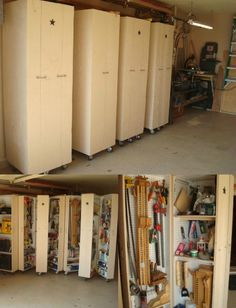 Rolling Cabinets for Tool Storage - 49 Brilliant Garage Organization Tips, Ideas and DIY Projects