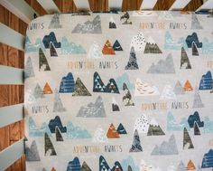 Crib Bedding Sheets - adventure awaits grey mountains - orange and navy blue sheet - baby bedding - nursery must have - baby gift - boy