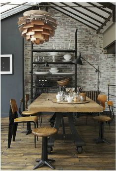 Love the brick wall and decor...