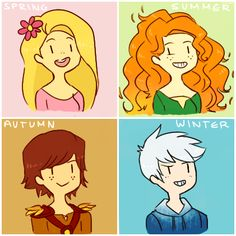More Like Hiccup, Merida, Rapunzel and Jack Frost by ~AIBELIN