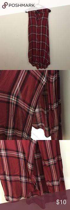 "Forever 21 Plaid Shirt Dress Button up plaid shirt-dress. 9"" slit on both sides. Very soft. Worn once. Forever 21 Dresses Midi"