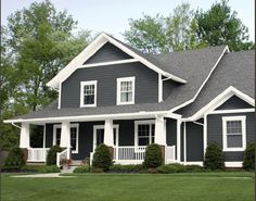 The farmhouse exterior design totally reflects the entire style of the house and the family tradition as well. The modern farmhouse style is. Farmhouse Exterior Colors, Grey Exterior, Exterior Siding, Exterior Remodel, Exterior Design, Gray Siding, White Siding, Grey Siding House, Vinyl Siding