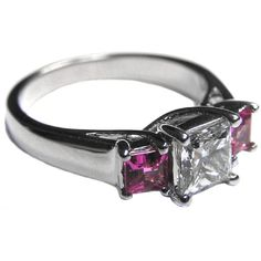 Trellis Diamond Engagement Ring with Pink Sapphires - ES536PRWG