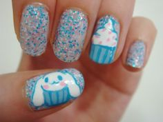 Colour Glitter Cup Cake Nails: