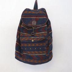 90s Backpack | Vintage Retro 80s 90s Southwestern Print Cotton Rucksack Cloth Bag ...