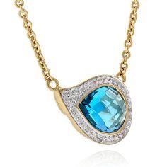 Blue & White Topaz Necklace 14K :: Ben Bridge Jeweler