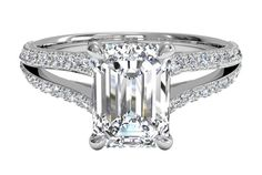 Emerald Cut Diamond Engagement Ring with Double French-Set Diamond 'V' Band and Surprise Diamonds in White Gold, by Ritani