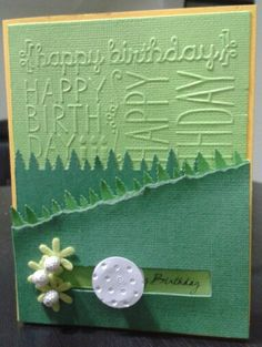 """Happy Birthday card for golf enthusiasts....you can roll the """"golf ball"""" to reveal birthday greetings."""