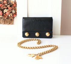 Salvatore Ferragamo Bag crossbody belt bag waist bag Black Leather Vintage Handbag by allvin on Etsy