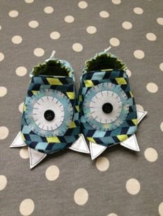 Green and Blue Baby Boy Monster Critter Bootie by Polkadotologie, $18.00