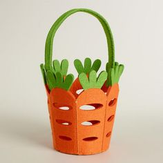 Large Carrot Felt Easter Basket at Cost Plus World Market >> Easter Traditions, Easter Baskets, Easter Entertaining - Easter Crafts Craft Stick Crafts, Felt Crafts, Diy Crafts, Basket Crafts, Diy Ostern, Easter Traditions, Easter Holidays, Easter Crafts For Kids, Craft Ideas