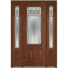 Milliken Millwork 64 in. x 96 in. Prairie Bevel Decorative Glass 3/4-Lite Finished Oak Fiberglass Prehung Front Door with Sidelites-Z009968R - The Home Depot