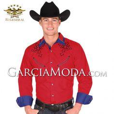 Camisa El General Western Wear 33525GM En Color Roja diseño tribal crosses vaquero Western