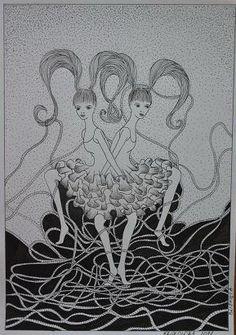 Zodiak bliźnięta, cienkopis kreślarski A4