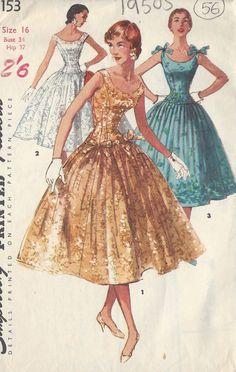 "1955 Vintage Sewing Pattern DRESS B34"" (56)   eBay"
