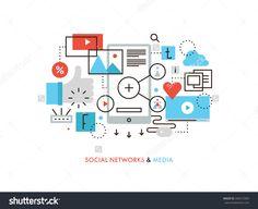 Тонкая линия плоский дизайн социальной сети связи, услуг интернет-СМИ, интернет-сообщество для блога, в чате и обмена новостями.  Современная концепция векторные иллюстрации, изолированных на белом фоне