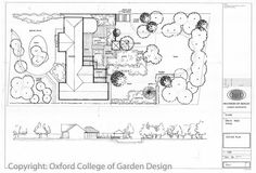 Large town garden with extensive pond, decking, summer house arbour, lawn and planting Garden Plans, landscape plans