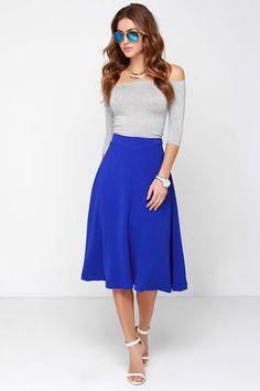 JOA Luxe Life Cobalt Blue Midi Skirt