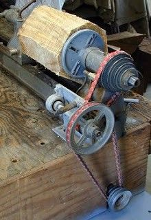 Wood Lathe Jack Shaft by  -- Homemade jack shaft constructed from steel plate, shafting, bearings, and pulleys. http://www.homemadetools.net/homemade-wood-lathe-jack-shaft