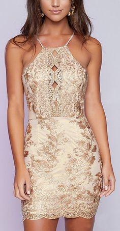Halter Top Gold Embroidered Backless Dress