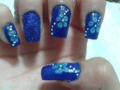 Unhas Decoradas - Florzinha Azul - Tutorial Passo a Passo