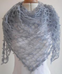 As light as an angel's wings, this is a soft lacy triangular shawl that is perfect for summer evenings. It has a simple design which is very easy to memorise and very quick to make. It uses less than 50g of laceweight mohair yarn, which helps in ensuring it is light but also warm enough to keep the chill off. The shawl is worked from the bottom point upwards. It is important that you check your tension, this is an open design and requires a fairly loose tension to look good. You may need to…