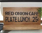 Red Onion Cafe Sign, vintage inspired kitch