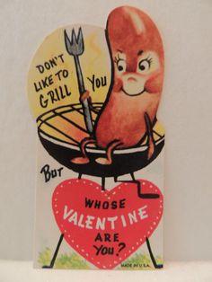 "Vintage Valentine Card Hot Dog Sausage Weenie on Bar B Que "" Like to Grill You "" | eBay"